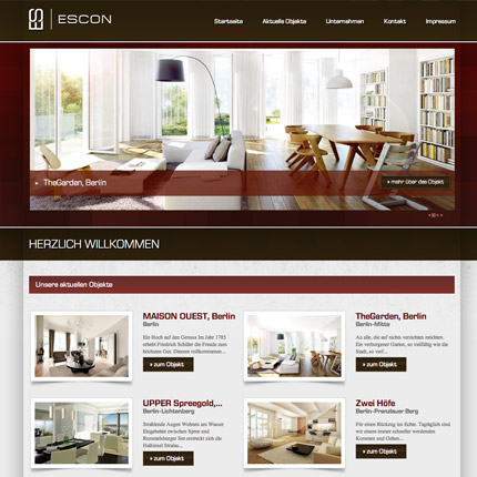 Escon Objekte Berlin - Webdesign