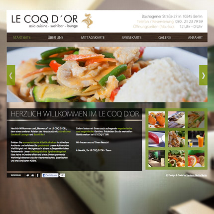 Le coq d'Or Restaurant - Webdesign
